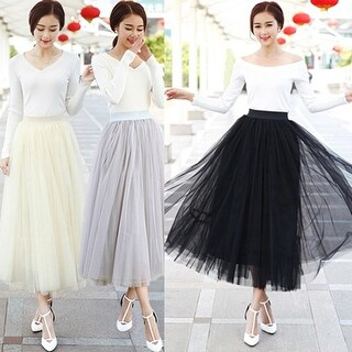 Lady Fashion Korean Style Swing Maxi Skirt Autumn High Waist Tutu Long Tulle Skirt
