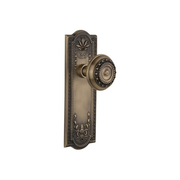"Nostalgic Warehouse MEAMEA_PSG_234_NK Meadows Solid Brass Passage Knob Set with 2-3/4"" Backset"