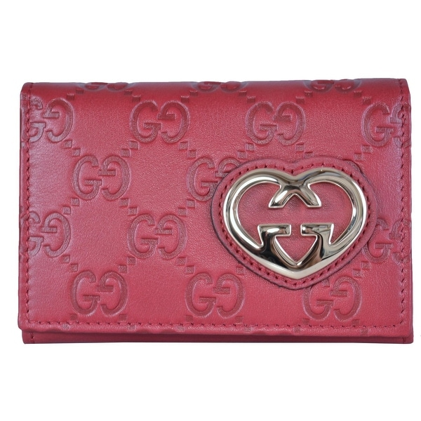 Gucci Women's Raspberry Pink Leather GG Guccissima Heart Card Case Wallet