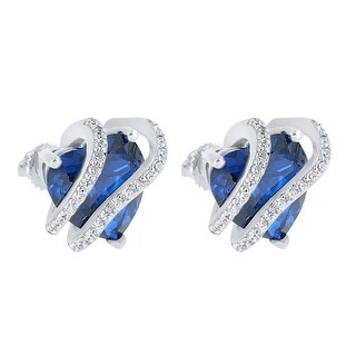 Designer New Earrings Blue Ruby CZ Solitaire Womens Gift Screw Back Sterling Silver Pave Set