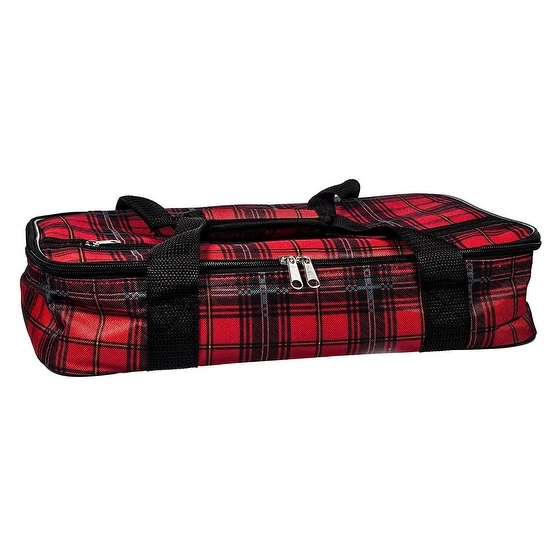 Palais Dinnerware Insulated Casserole Carrier With Zip Closure Attractive  Design, with Strap and Side Pocket Tartan