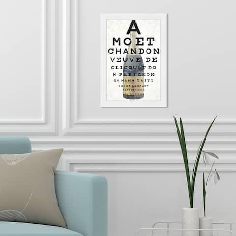 Oliver Gal 'Champagne Eye Chart' Drinks and Spirits Framed Wall Art Prints Champagne - Black, Gold