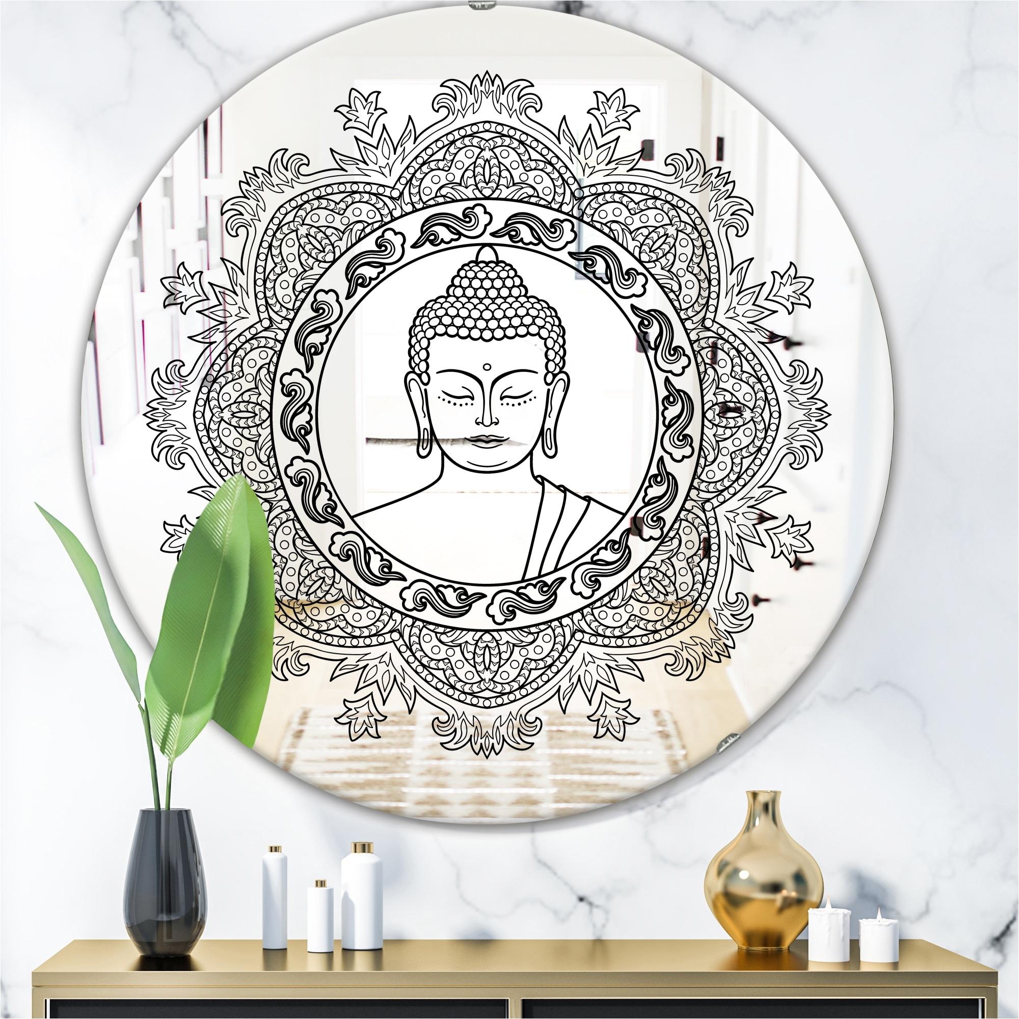 Designart Stenciled Buddha Mandala Traditional Mirror Round Wall Mirror Black Overstock 28022184