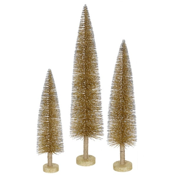Set of 3 Metallic Gold Glitter Artificial Mini Village Christmas Trees - Unlit