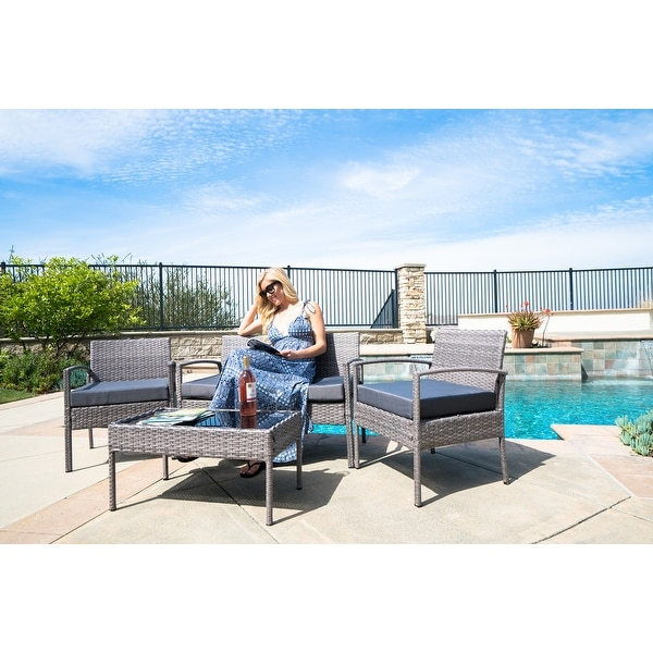 Belleze4 Pc Furniture Outdoor Set 4 Piece Patio Rattan One Gl Table Two