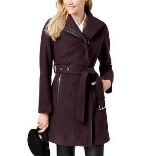 T Tahari Womens Merlot Burgundy Wrap Wool Coat Jacket