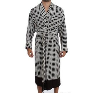 Dolce & Gabbana Dolce & Gabbana White Brown Polka SILK Robe Sleepwear Nightgown