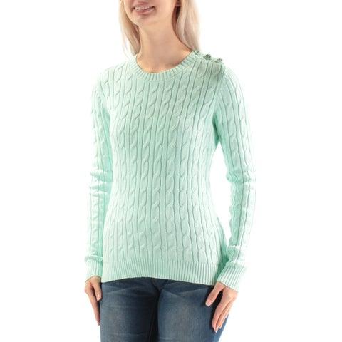 CHARTER CLUB $34 Womens New 3497 Green Textured Sweater S Petites B+B