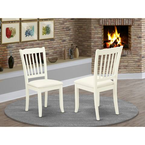 Danbury Vertical Slatted Back Chairs with Linen Fabric Upholstered Seat in Linen White Finish - DAC-LWH-C