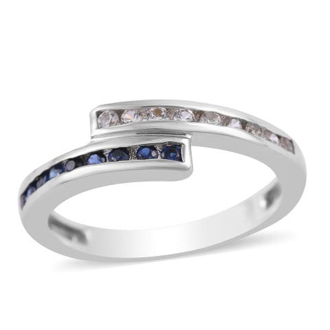 Sterling Silver Blue White Created Sapphire Statement Ring Size 6.5