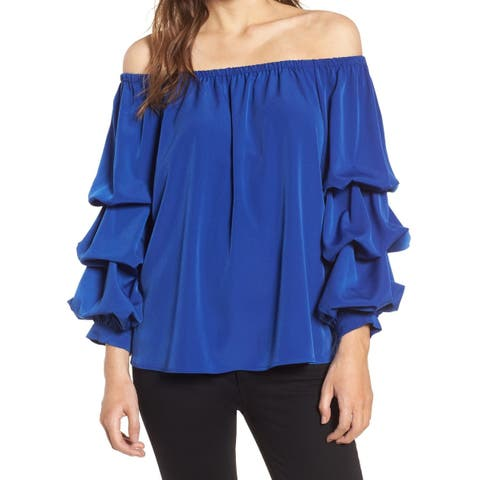 Chelsea28 Blue Womens Size Large L Ruched-Sleeve Off-Shoulder Blouse