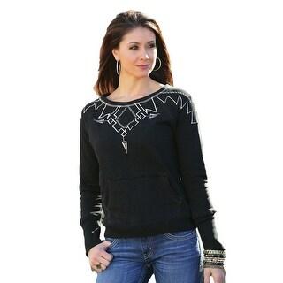 Cruel Girl Western Sweatshirt Womens Crew Pullover Black CWK9864001