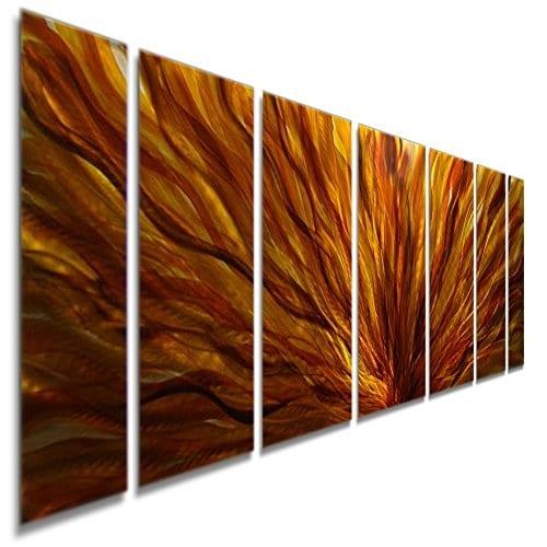 Statements2000 Red/Yellow/Orange Modern Metal Wall Art Painting Panels by Jon Allen - Fall Plumage
