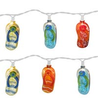 Set of 10 Tropical Beach Flip Flop Sandal Novelty Christmas Lights - White Wire - multi