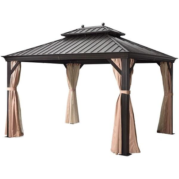 Shop Outdoor Galvanized Steel Hardtop Double Top Permanent ... on Safavieh Outdoor Living Horus Dining Set id=27129