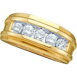 14k Yellow Gold Round Channel-set Natural Diamond Mens Masculine Wedding Band 1/2 Cttw - White