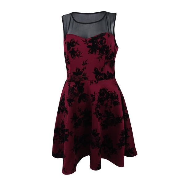 Trixxi Juniors\' Illusion Velvet-Print Fit & Flare Dress (L, Black/Wine) -  Black/Wine - L