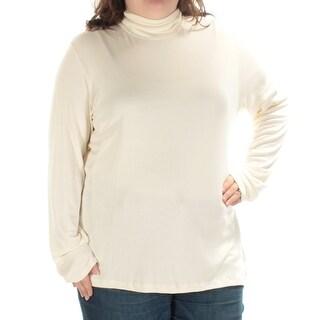 RALPH LAUREN $65 Womens New 1458 Ivory Ribbed Long Sleeve Top 1X Plus B+B