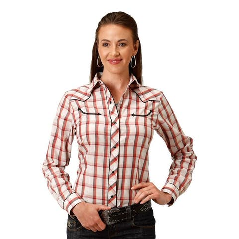 Roper Western Shirt Womens L/S Plaid Red Black Tan