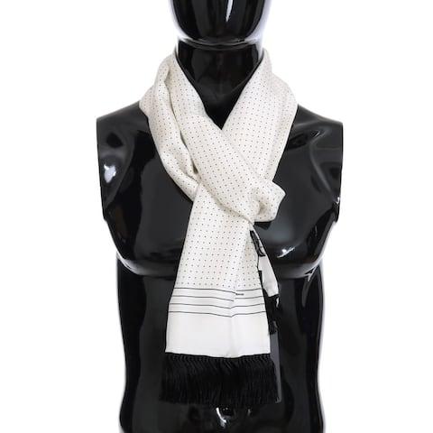 Dolce & Gabbana White Silk Polka Dot Men's Scarf - One Size