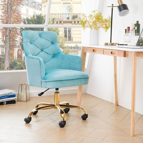 OVIOS Cute Desk Chair Plush Velvet Office Chair for Girl or Lady Modern Nice Vanity Chair and Task Chair with Gold Base