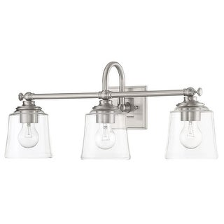 "Park Harbor PHVL3013 Antonia 3 Light 25-1/4"" Wide Bathroom Vanity Light with Cle"