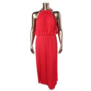 MSK Womens Chiffon Knife Pleat Evening Dress