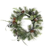 "24"" Artificial Mixed Pine with Blueberries, Pine Cones and Ice Twigs Christmas Wreath - Unlit - green"
