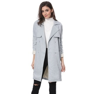 Allegra K Women's Double Breasted Raglan Sleeve Trench Jacket - gray