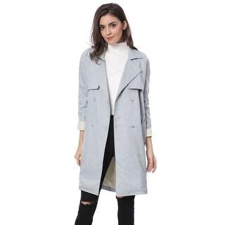 Allegra K Women's Double Breasted Raglan Sleeve Trench Jacket