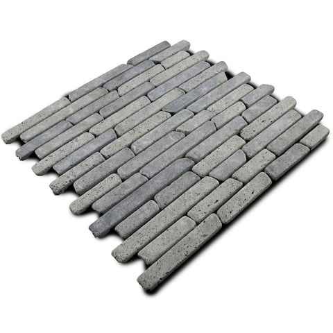 Miseno MT-L3RBK Strip Mosaic Natural Stone Tile (9.9 SF / Carton) - Black