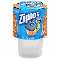 Ziploc 18035 Twist 'n Loc Round Storage Container And Lids, 2-Sets