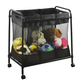 Rolling Storage Cart With Triple Mesh Bins