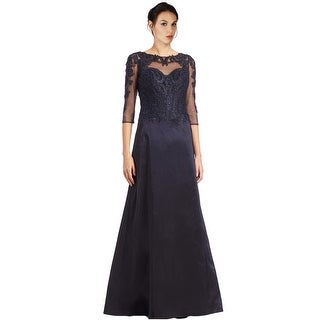 Teri Jon Lace Sleeve Embellished Taffeta Ball Evening Gown Dress