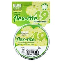 BeadSmith Flex-Rite Beading Wire, 49 Strand .014 Thick, 100 Foot Spool, Pearl Silver