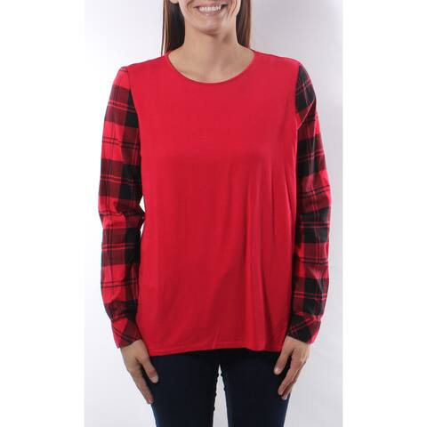 Bass Womens Red Plaid Long Sleeve Scoop Neck Top Size: L