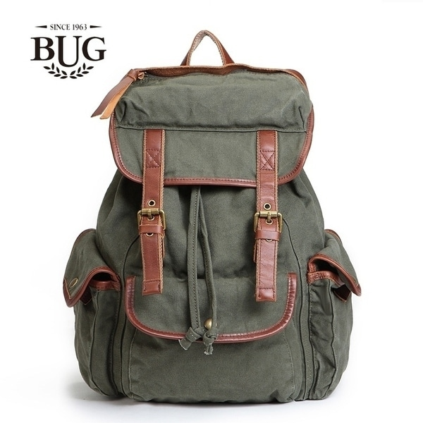 c59e39dbda Shop BUG Canvas Backpack Bag female canvas with leather