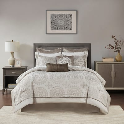 Madison Park Sausalito Tan 12-piece Bed in a Bag with Sheet Set