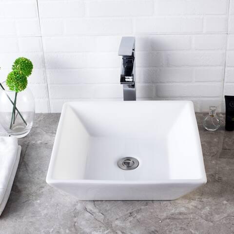 """16""""x16"""" Square Ceramic Bathroom Vessel Sink"""