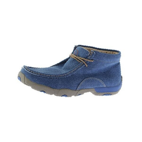 Twisted X Casual Shoes Mens Canvas Lace Mocs Red Buckle Denim