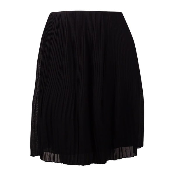 Alfani Women's Pleated Chiffon A-Line Skirt - Deep Black
