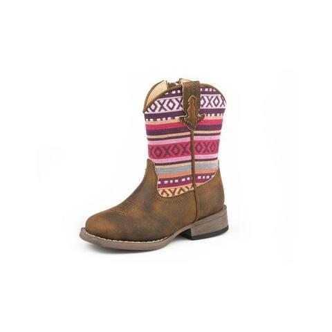 Roper Western Boots Girls Hugs Kisses Zip Cognac - Cognac Vintage