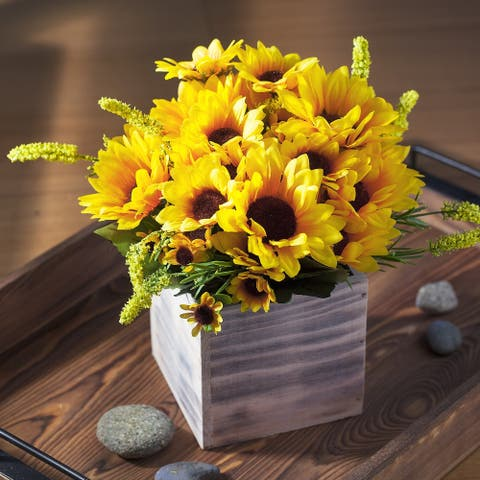 Enova Home Mixed Artificial Silk Sunflowers Fake Flowers Arrangement in Wood Planter for Home Office Wedding Decoration