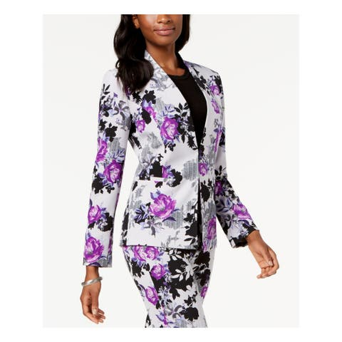 NINE WEST Womens Silver Floral Print Kiss Front Purple Black Jacket Size: 2