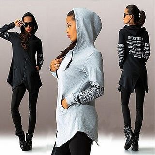 Women's Casual Letter Print Long Sleeve Zipper Long Hoodie Pullover Hooded Tops