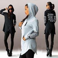 Women's Casual Letter Print Long Sleeve Zipper Long Hoodie Pullover Hooded Tops