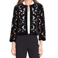 Tahari by ASL Black Women's Size 4 Velvet Laser Cut Blazer Jacket