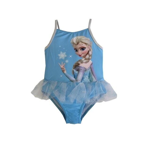 486187f93d Shop Disney Little Girls Blue Frozen Elsa Print Tutu One Piece Swimsuit -  Free Shipping On Orders Over $45 - Overstock - 18169006