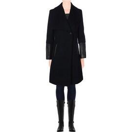 Elie Tahari Womens Carlotta Wool Asymmetric Pea Coat