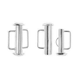 Slide Tube Clasps, with Bar Loops 16.5x10.5mm, 4 Pieces, Silver Plated
